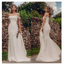 LORIE Mermaid Wedding Dresses 2019 Appliques Lace Beach Bride Dress Custom Made Sexy Fairy White Ivory Gown
