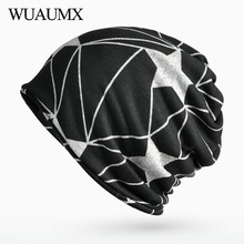Wuaumx Unisex Fall Winter Hats For Women Men Pentagram Turban Velvet Skullies Beanies Knitted Cap Female czapka zimowa