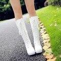 2017 Cosplay princesa vestidos de alta de la pierna botas blancas botas de punk vintage