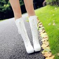 2017Cosplay princess boots white punk vintage dresses boots high-leg boots