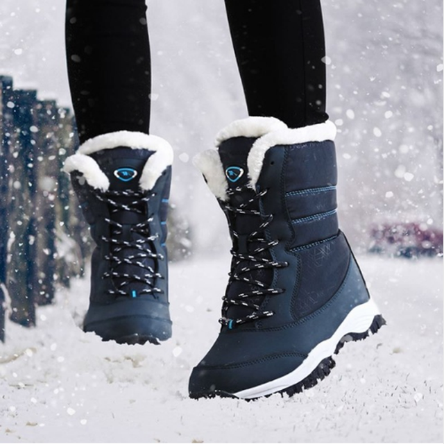 2018 Women ankle boots high quality waterproof snow boots thick plush winter shoes platform boots for women size 35 - 41