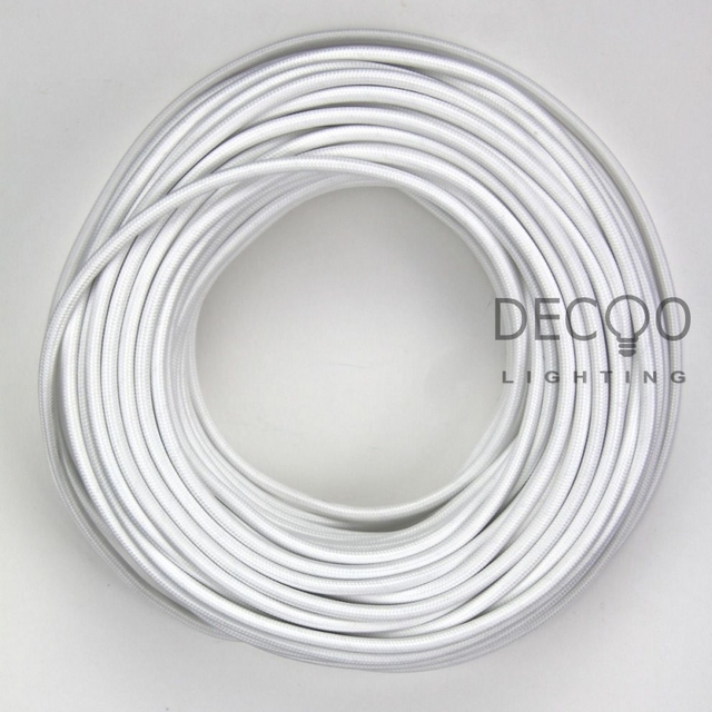 White Cloth Covered Lamp Cable Wire Vintage Lamp Cord Lighting ...