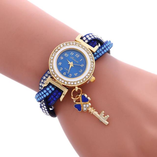2018 New Fashion Casual Quartz Women  Wrap Around Rhinestone Watch Braided Leather Bracelet Watch Gift Relogio Feminino Gift  #D