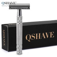 Qshave Men Manual Shaving Razor Classic Safety Razor Double Edge Blade Stainless Steel Handle With 5