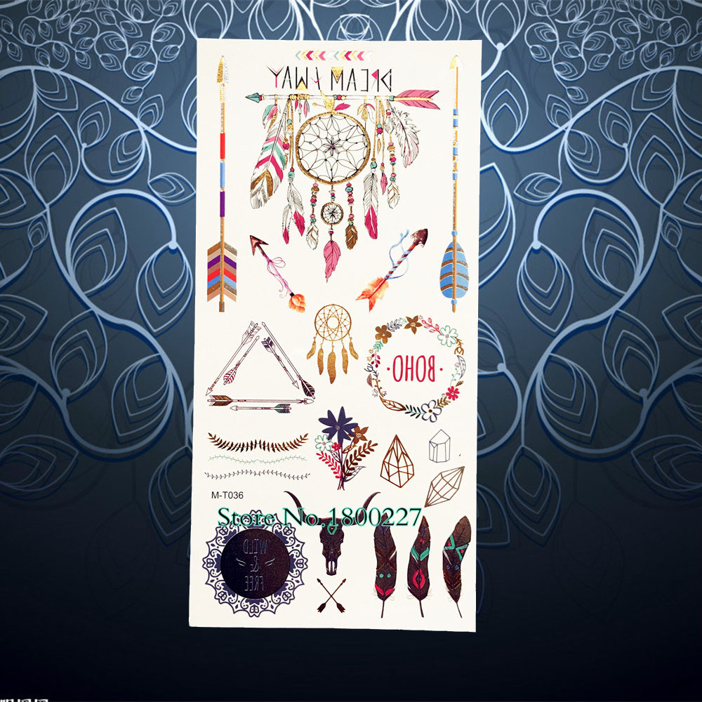 Colore Dreamcatcher Flash Metallique Temporaire Tatouage Indien