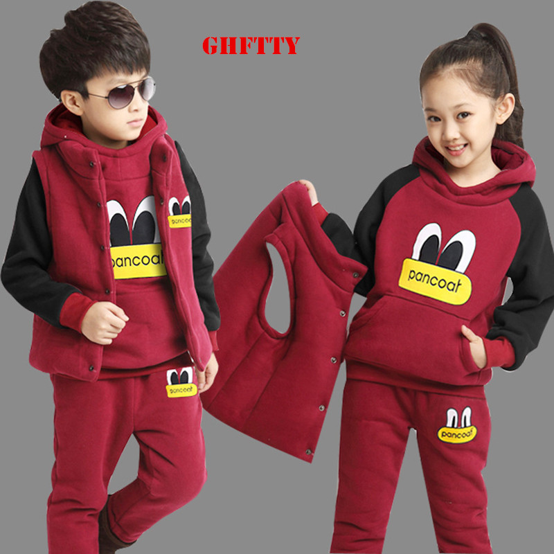 Children Kids Girls Boys Clothing Set Autumn Winter 3-Piece Sets Hooded Coat Suits Fall Cotton Baby Boys Clothes Big Eye Suit