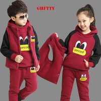 Children Kids Girls Boys Clothing Set Autumn Winter 3 Piece Sets Hooded Coat Suits Fall Cotton