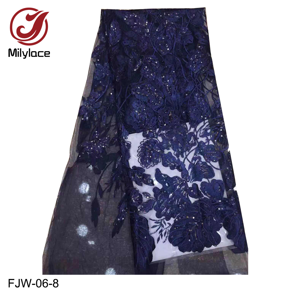 African party dress lace 5 Yards fabric with sequins french bridal embroidered lace fabric dubai lace