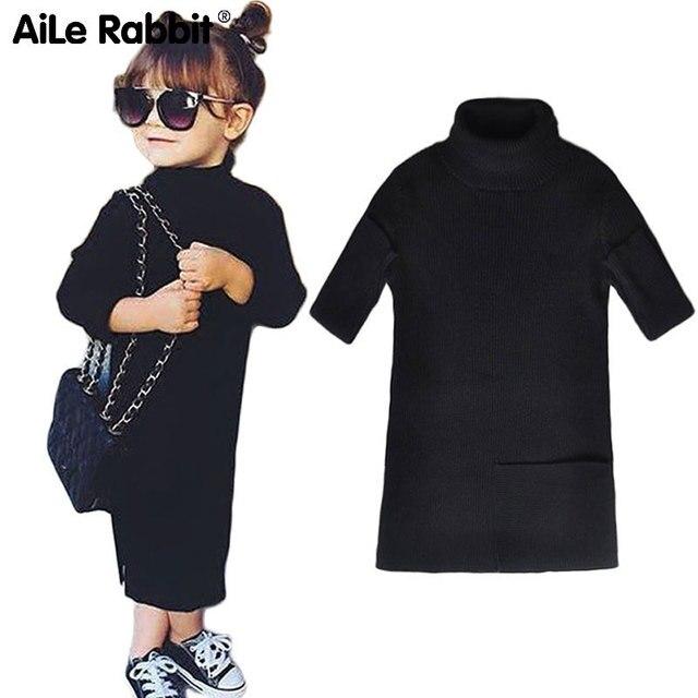 AiLe Rabbit/Зимние Модные INS Pop Girls платье открытым длинная куртка с секциями Платья-свитеры детская вязаная родитель-ребенок оборудования осень k1