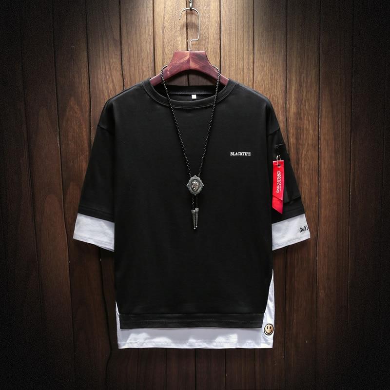 Men's Short Sleeve T-shirt 5-5 Sleeve Summer Korean Fashion Hip-hop Fake Two Loose Chao Brand 7-Sleeve Half Sleeve male MP191 5