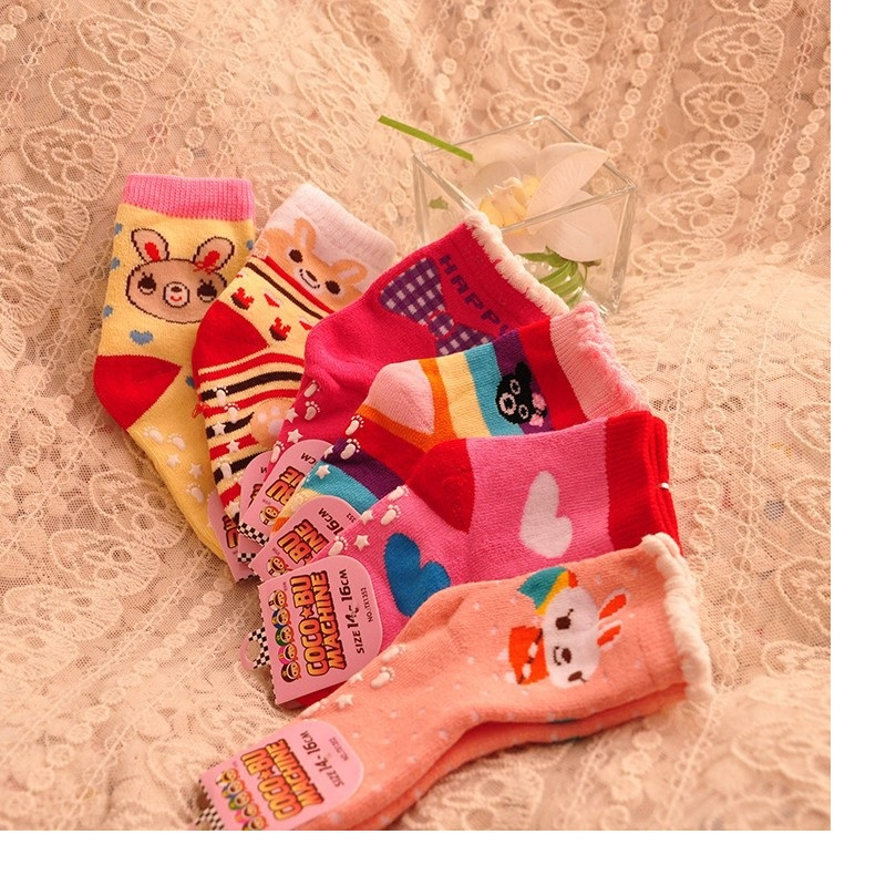 Children Socks new Free shipping 93 cotton non slip character kids Thickening sock 3 5year girls