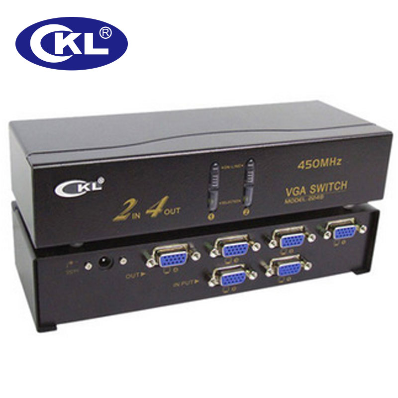 CKL VGA Switch 2 In 4 Out Support 2048*1536 450MHz For PC Monitor Big Screen Projection Transmission Up To 60 Meters CKL-224B