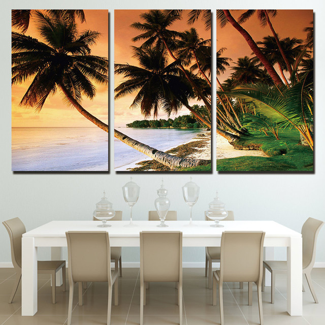 3 piece coast palm trees landscape canvas painting modern printed hd