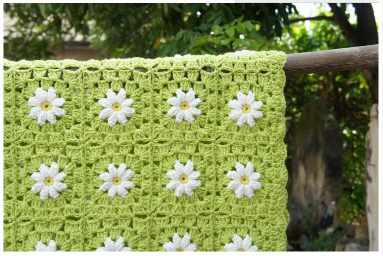 Ganchillo hecho a mano 80x120 cm verde Margarita flor Mantas café ...