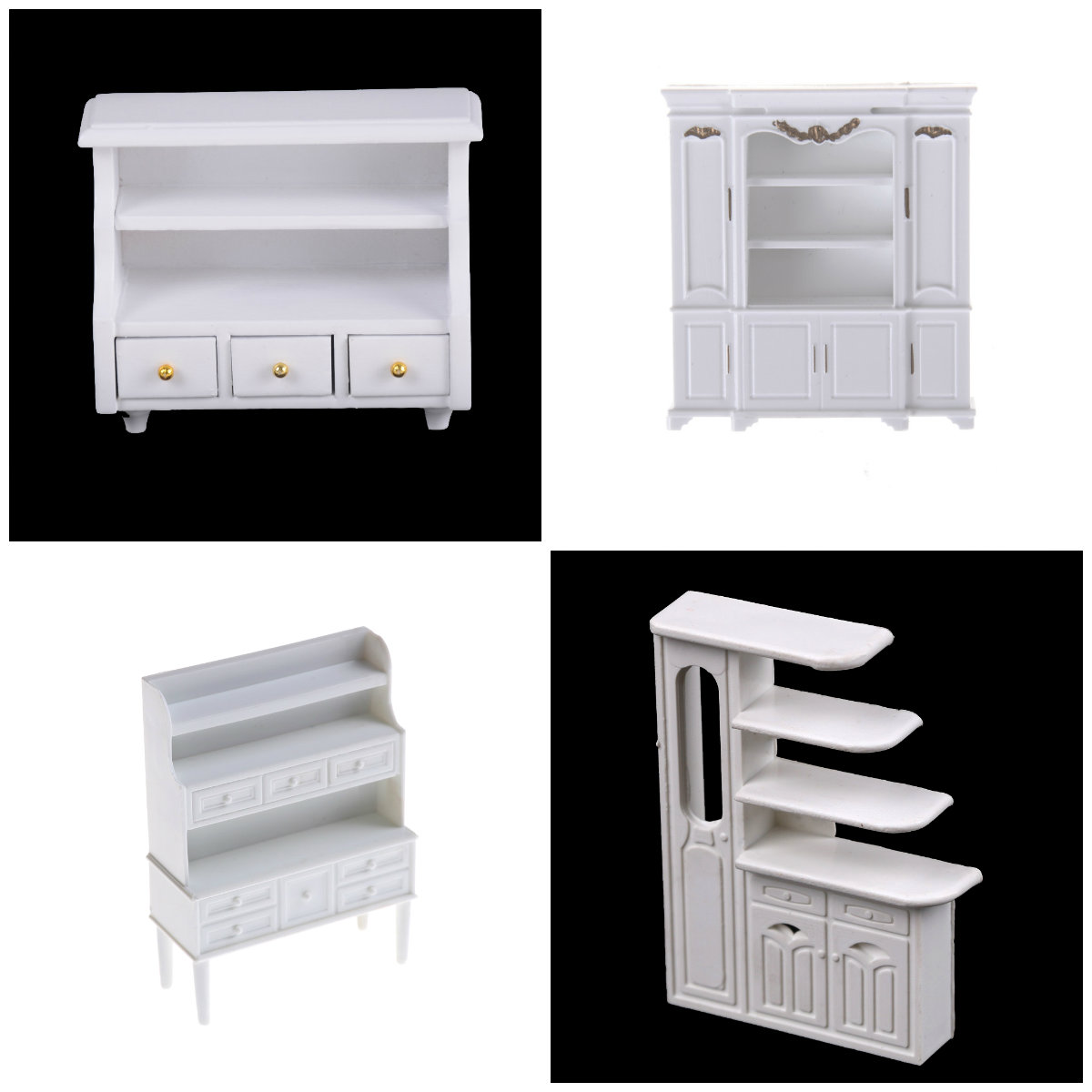 Display Doll House Kitchen Dollhouse Accessories Mini Cabinet Model Chest Cupboard Shelf White Cabinet Kitchen Dining Display