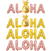 5Pcs ALOHA Gold Foil Letter Helium Balloons Hen party Banner Aloha Tropical Beach Party Decor Balloon Supply