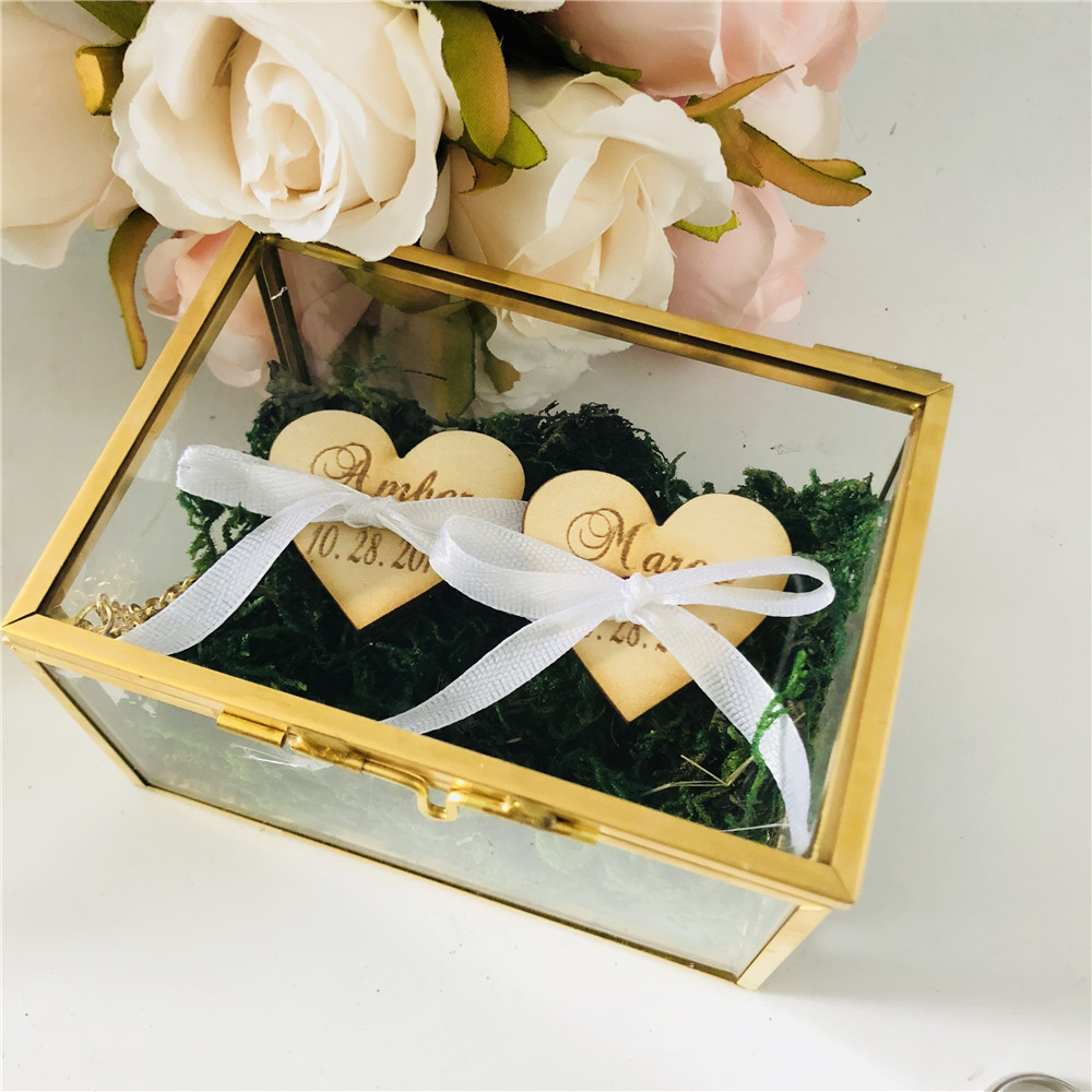 Box Personalized Jewelry-Box Wedding-Ring-Holder Marriage-Decoration Bride Custom Glass