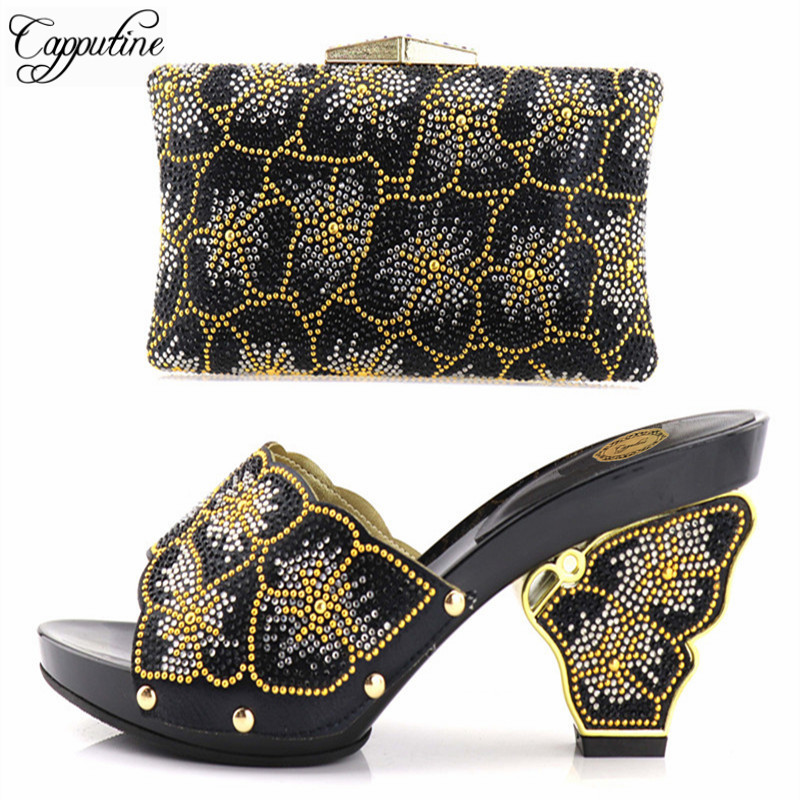 Capputine Africa Ladies Matching Shoes And Bag Set Hot Sale Italy Shoes And Bags Set For Party Women Shoes And Bag Set On Sale cd158 1 free shipping hot sale fashion design shoes and matching bag with glitter item in black