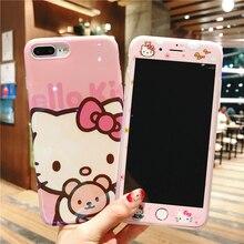 Sevimli Hello Kitty Blu-Ray telefon kılıfı Temperli Cam Film Için iPhone X XR XS MAX iPhone 6G 6 S 6 P 6SP 7 7 P 8 8 P
