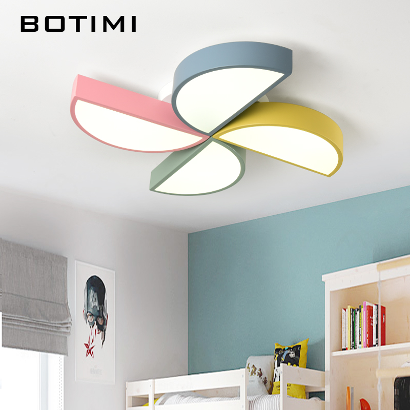 BOTIMI 220V LED Ceiling Lights For Living Room Colorful Windmill Ceiling Mounted Bedroom Lamps Metal Frame Kitchen Lighting