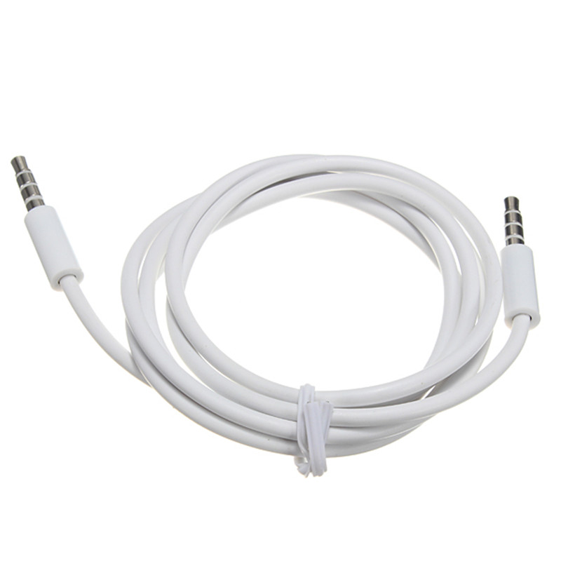 LEORY 4 Pole 1M 3.5mm Audio Cable Male To Male Record Car Aux Audio Cord Headphone Connect Cable White