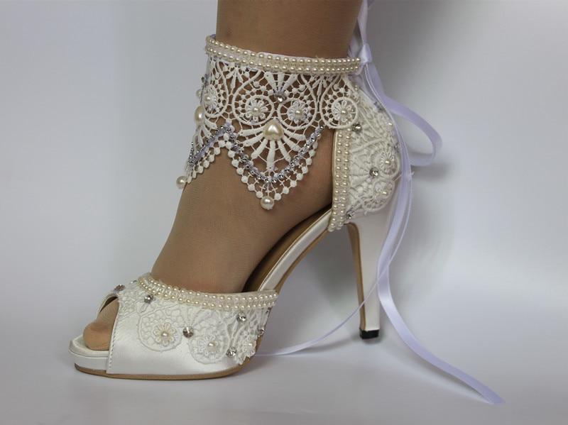 b7d8dd837b32 Demoiselle Lacets D honneur Chaussures Ouvert Talon Rubans Peep Bout Ivoire  11 Sexy Hs035 Chaussure Cm De Mariée Fête Mariage Pfwn6Opq
