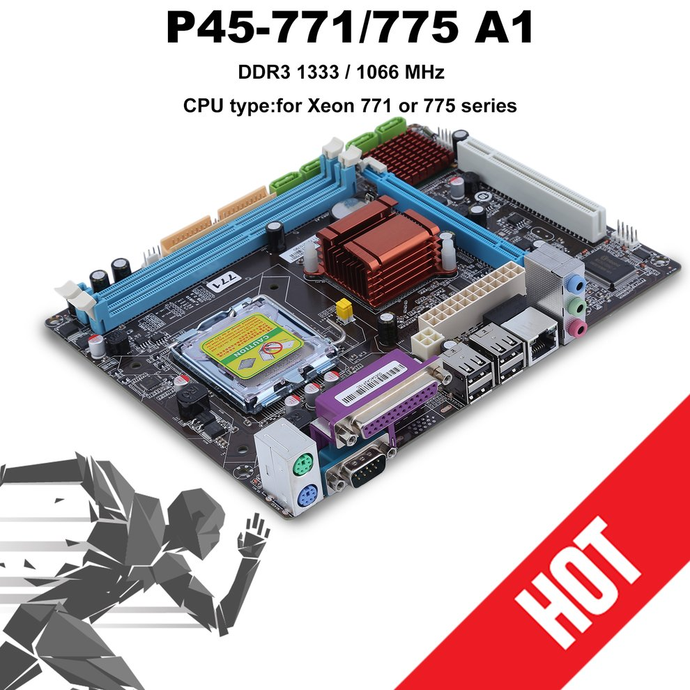 все цены на For P45 LGA 771 775 Practical Desktop Computer Mainboard For Intel P45 Motherboard Supports 8GB 2 DDR3 DIMMS 1066 1333MHz онлайн