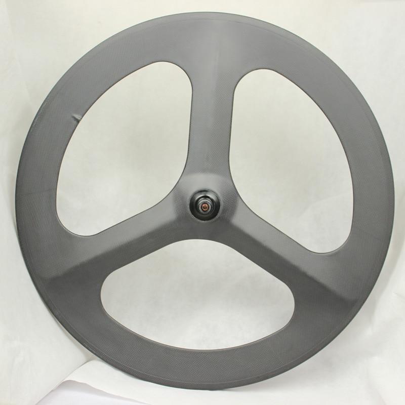 CARBON Tri Spoke REAR Clincher Tubular Wheel For Road Or Track Triathlon Time Trial Bike Wheel Three spokes carbon wheel China