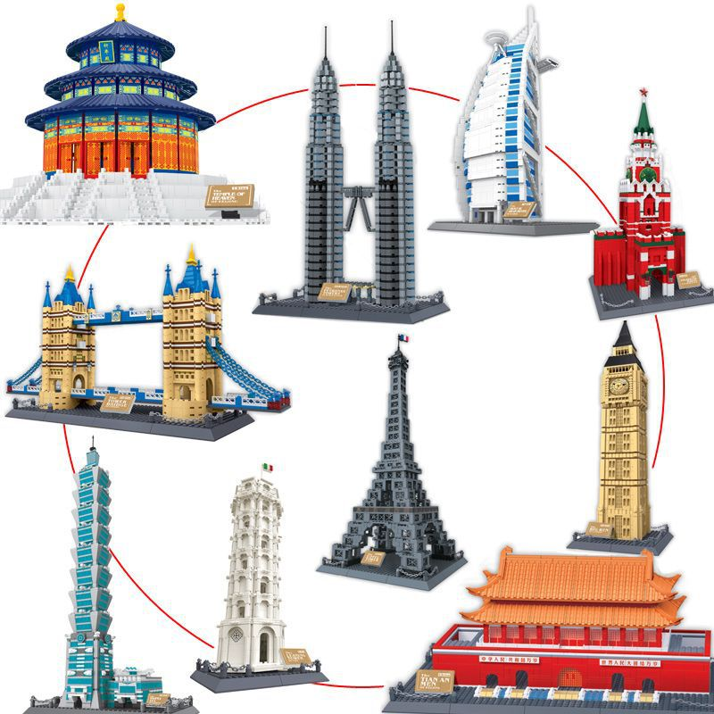 купить WANGE Blocks World Architecture Series Eiffel Tower Educational Big Ben Assemble Building Toys For Children Pisa Tower Kids Gift по цене 1315.62 рублей