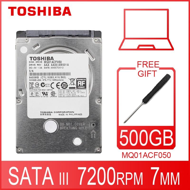 "Toshiba portátil disco rígido 500 gb 500g original interno notebook hdd hd 2.5 ""7200 rpm 16 m cache 7mm 6 gb/s sata3 mq01acf050"
