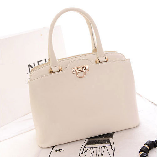 China Quality Bags Retailer Women Leather Handbags Beige White Color Fashion Tote Bag Free Shipping