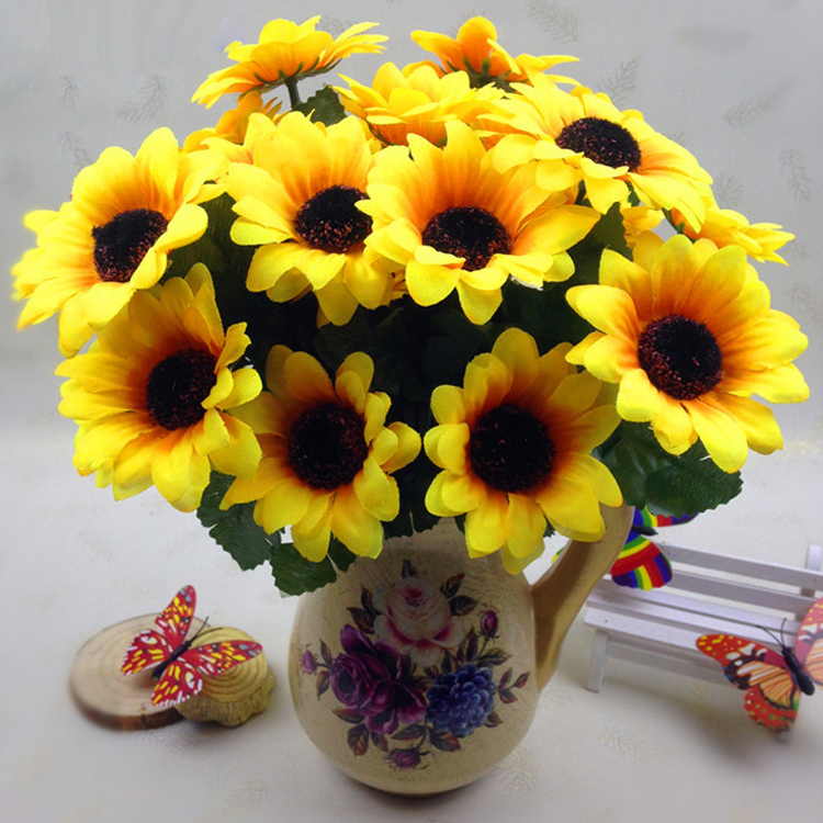 7 Heads Sunflower Accent Piece Household Silk Plastic Home Arrangement Porch Yellow Flor ...
