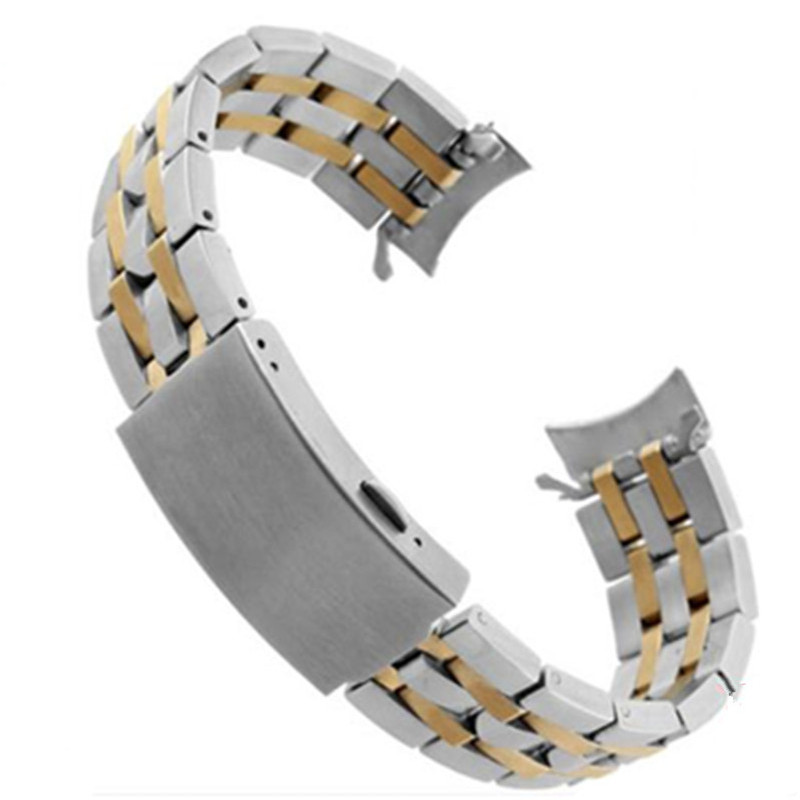 New 19mm 20mm Watch Band Strap Stainless Steel Curved End WatchBand Bracelet Fit For <font><b>PRC200</b></font> T17 T461 T014 T055 Replace image