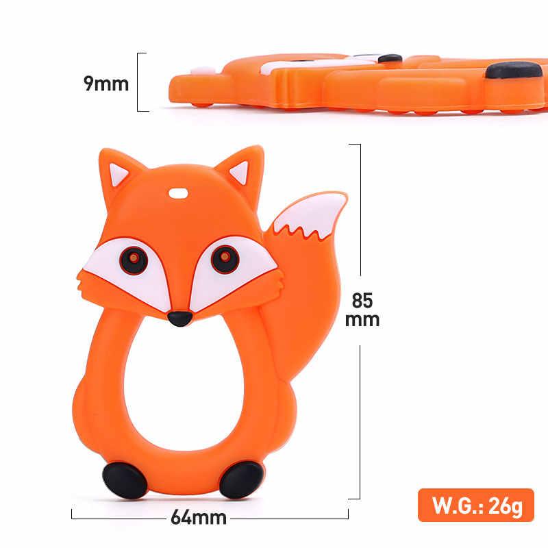 10 Pcs Kalung Dot Klip Aksesori Fashion Desain Baru Fox Bayi Teethers Liontin Bpa Gratis Silicone Kunyah Fox Liontin