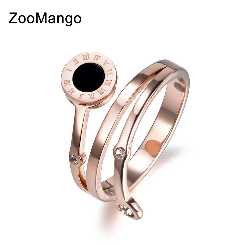ZooMango Trendy Cubic Zirconia Roman Number Shell Rings Jewelry Rose Gold 316L Stainless Steel Wedding Ring For Women ZR18008