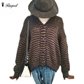 High Elastic Women Stripped Long Sleeve Sweater Knitted Cardigan 2016 Fashion Loose Sweater Outwear Jacket Coat  Winter Autumn