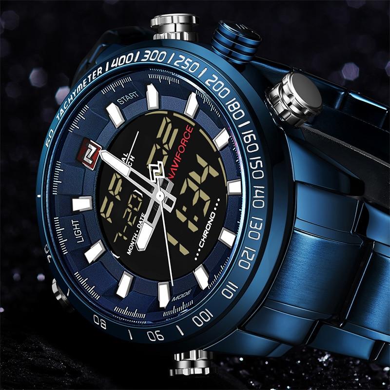 NAVIFORCE Clock Stopwatch Digital El-Backlight 9093 Military Waterproof Chrono Luxury Men's