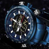 NAVIFORCE 9093 reloj deportivo de lujo para hombre marca militar impermeable EL retroiluminación Digital Reloj de pulsera para hombre reloj de cronómetro
