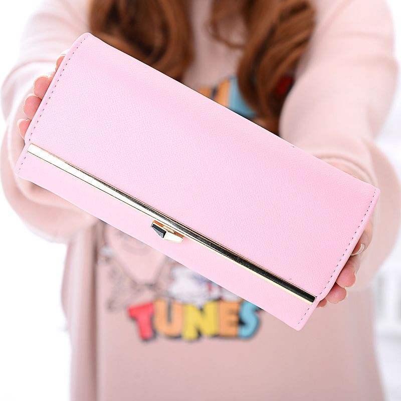 SUQI Women Long Wallet Retro Purse Female Student Coin Purse Money Bag Simple Korean Edition Lady Wallet Card Bag&Holders