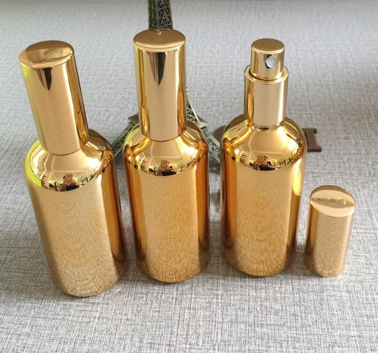 Groothandel fijne mist gouden 100ml glazen spray fles, 100 ml glazen - Huidverzorgingstools