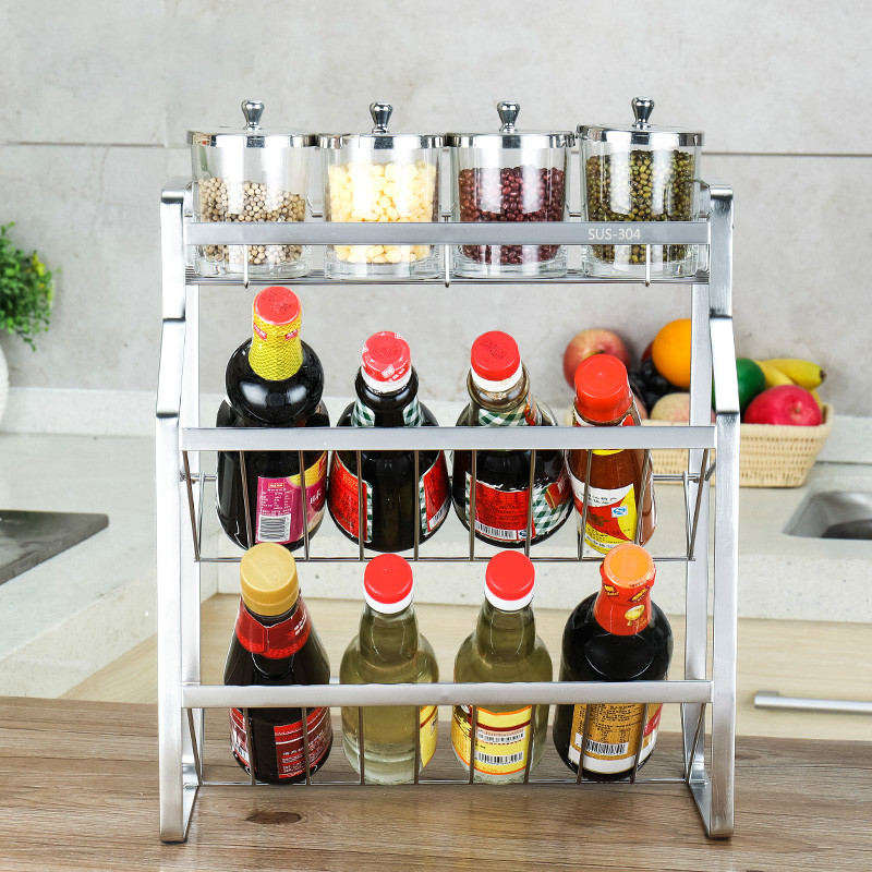 A1 Daily necessities storage rack 304 stainless steel kitchen cruet rack 3 seasoning box shelf LU41910 high quality kitchen tool daily necessities stainless steel oil colander bowl