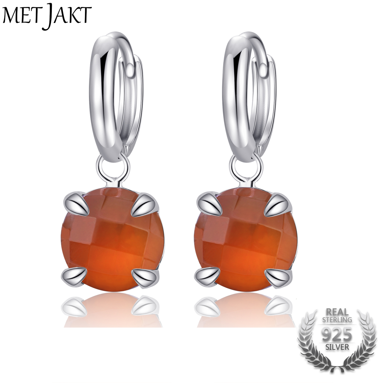 MetJakt Classic Natural Gemstone Red Agate Drop Earrings Solid S925 Sterling Silver Hook Earring for Women's Fine Jewelry metjakt bohemia natural agate white chalcedony drop earrings with zircon solid 925 sterling silver earring for women jewelry