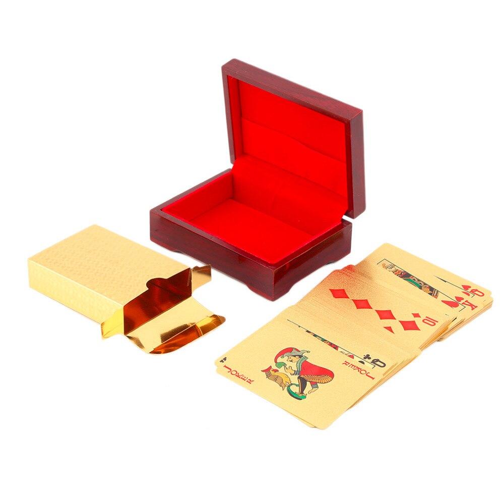 Cartes à jouer Euro modèle 24k plaqué or pleine plate forme de Poker Pure avec boîte en bois cadeau de noël