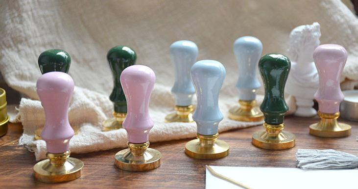 New Arrival Wood Handle Pink Green Blue Color Macaron Color Woo Handle For Wax Seal Stamp Just Handle