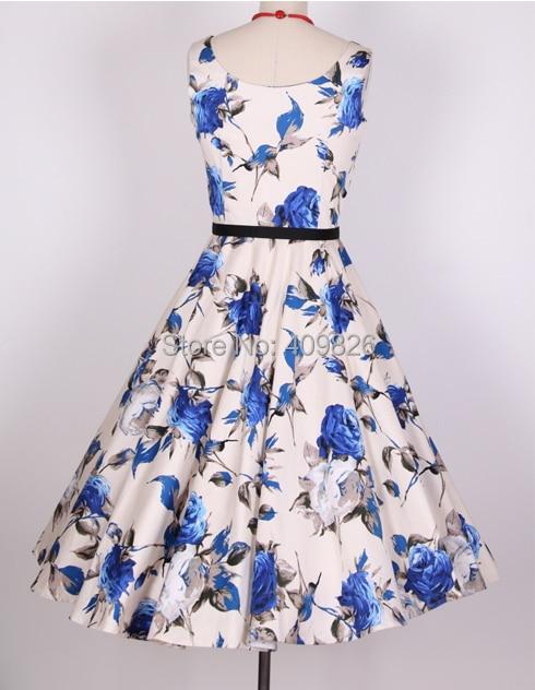 19ac9515f1 50s Vintage Audrey Hepburn Summer Style Rose Flower Floral Print High Waist  Pleated Dress with Belt Red Blue Vestidos de Fiesta-in Dresses from Women s  ...