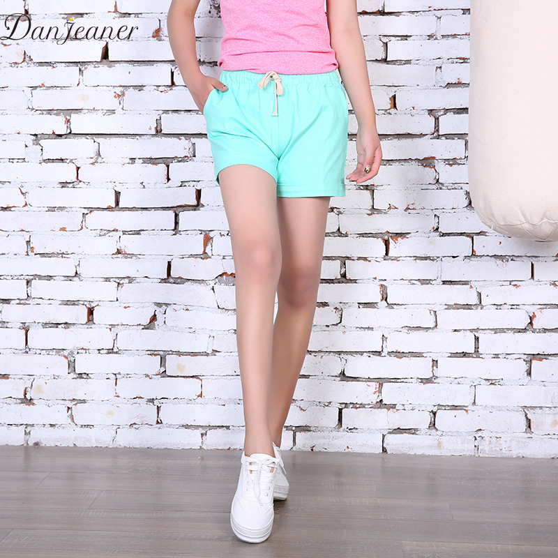Danjeaner Summer Plus Size Casual High Waist Cotton   Shorts   Ladies Candy Colors Drawstring Slim   Shorts   Women Elastic Waist   Shorts