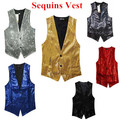 new free shipping New Fashion Leisure Men Vests suits slim Sequins gold red black White gray blue Dj stage