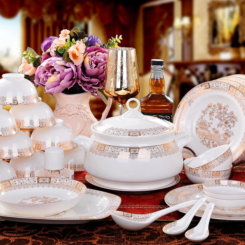 Jingdezhen 56 high quality ceramic bone china tableware bowl dish dish Spoon Set housewarming gifts