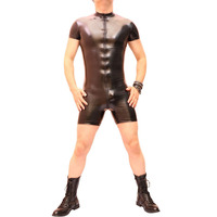 Free Shipping Seductive Male Mirror Pu Leather Stage Nightclub Outfits One body Tight Rubber Men Suit Imitation Latex Tailored
