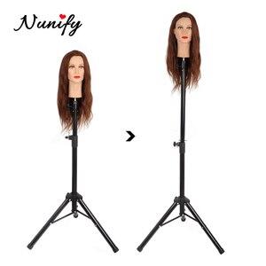 Image 1 - Nunify Parrucca Basamento In Metallo Regolabile Cosmetologia Parrucchiere Formazione Mannequin Testa Treppiede Per scarpe di Tela Blocco Parrucca Testa Del Basamento